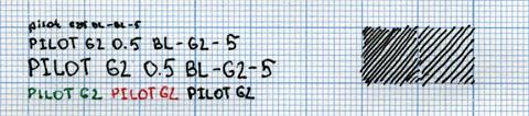 Пример надписи, сделанной Pilot G2