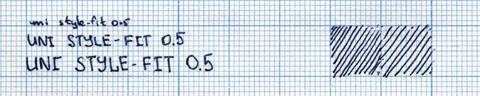 Пример надписи, сделанной uni style fit 0.5 (с гелевым стержнем)