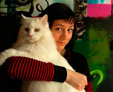 Яна Франк, портрет с котом Федором