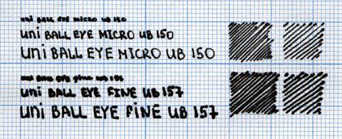 Образец надписи, сделанной Uni-ball eye micro и fine