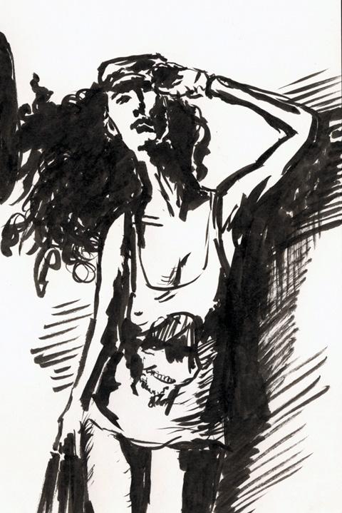 Рисунок, сделанный pentel pocket brush (женщина в футболке)