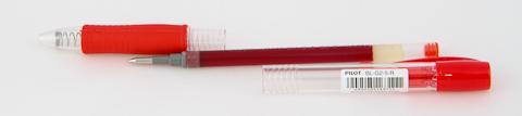 Ручка pilot g2, красная (в разобранном виде)