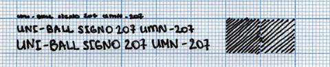 Пример надписи, сделанной ручкой Uni-ball Signo 207